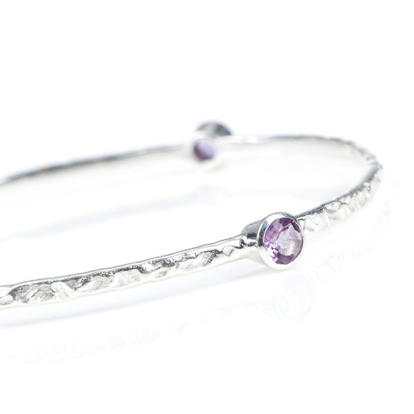 stacking bangle with semi-precious stones (silver/amethyst)