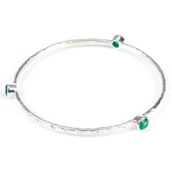 stacking bangle with semi-precious stones (silver/green onyx)