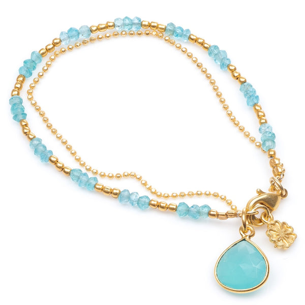 two strand teardrop stone and chain bracelet (aqua chalcedony)
