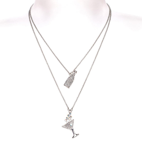 Champagne Glass & Bottle, Double Chain Necklace Clear - 85650