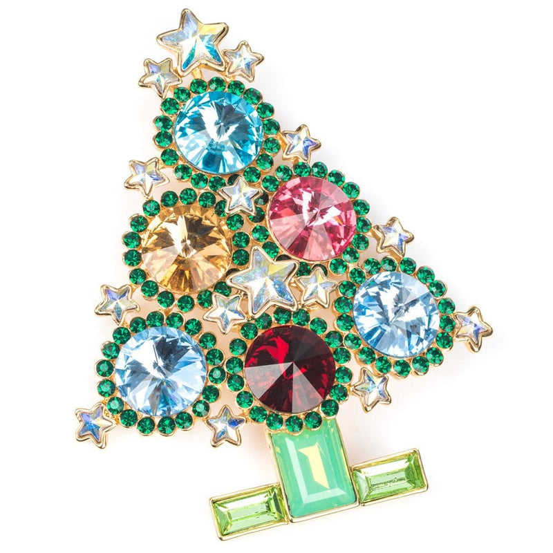 Crystal Circles Christmas Tree Brooch Multi - 86755