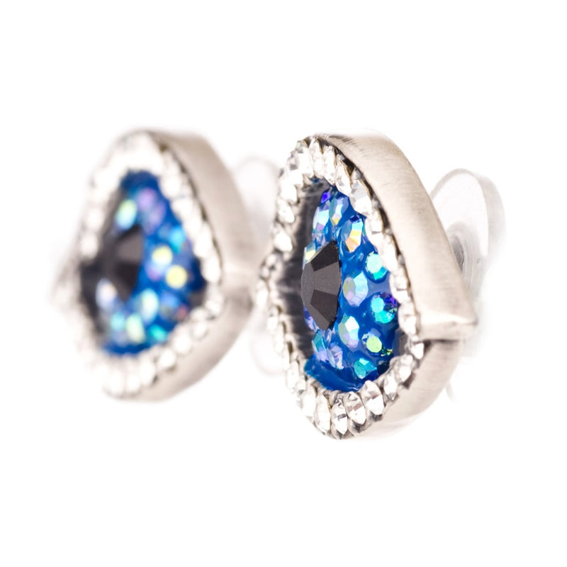 crystal eye stud earrings (blue)