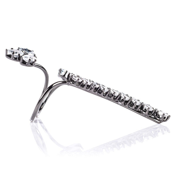 Crystal leaves double finger ring - Pewter