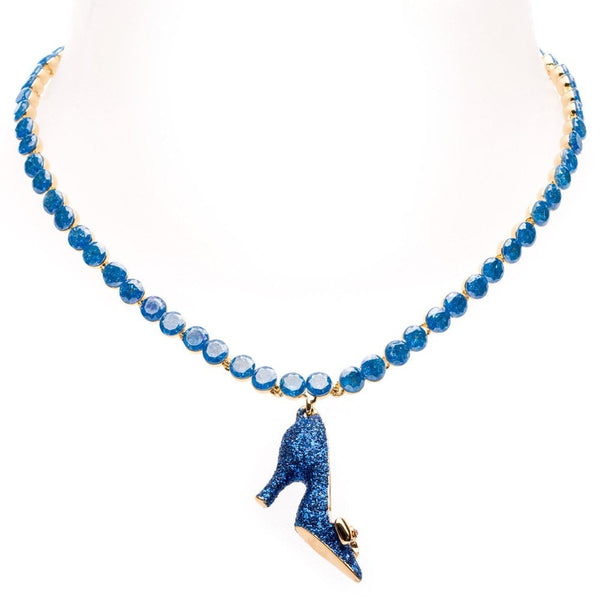 Glitter Enamel Shoe Crystal Row Necklace Gold Tone Blue - 87160