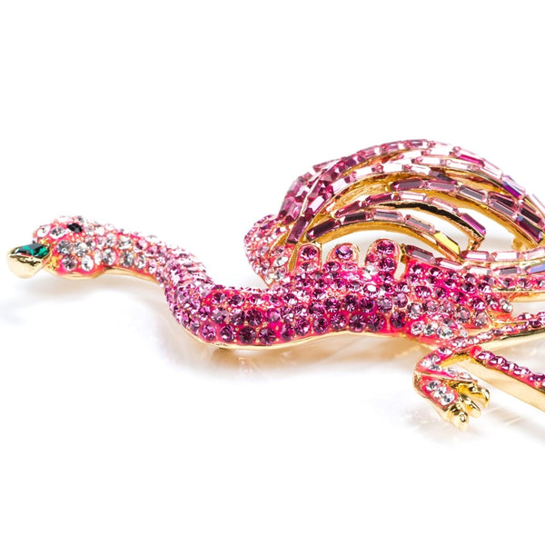 large crystal flamingo brooch pink - 81383
