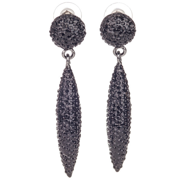 pave crystal cone drop earrings (jet)