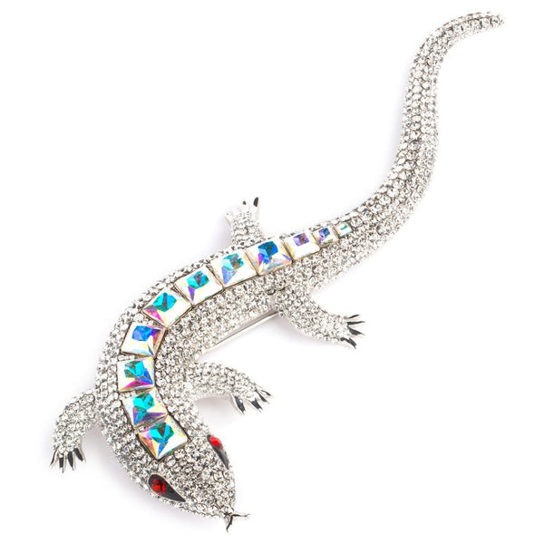 Statement Crystal Lizard Brooch with Square Stones on Back - 87432