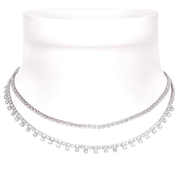 Two Strands Crystal Choker - clear 88830