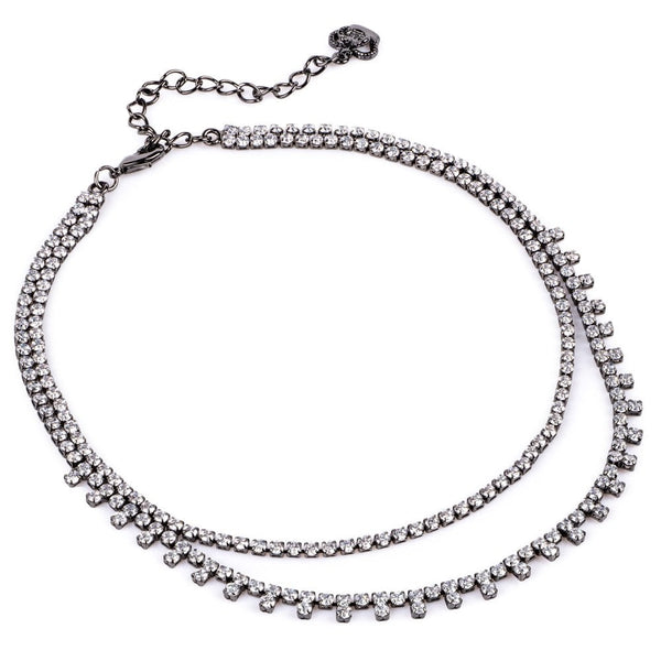 Two Strands Crystal Choker - pewter 88830