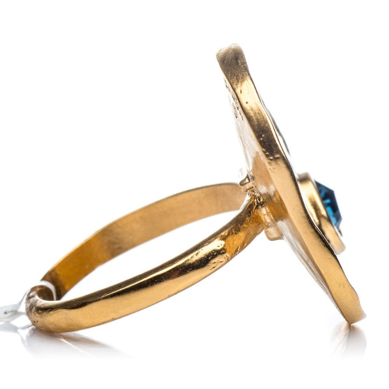 Calipso Gold Plated Ring with Blue Crystal - 1172
