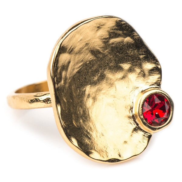 Calipso Gold Plated Ring with Red Crystal - 1172