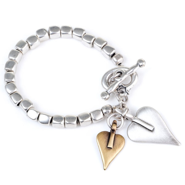 cube bracelet with two hearts (mix)