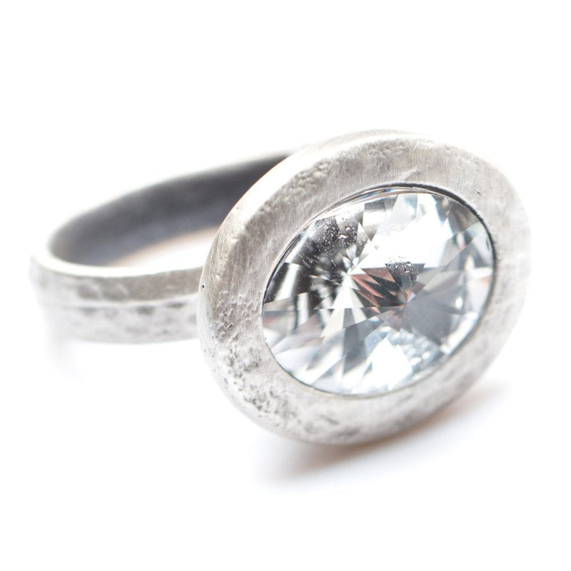Elliptic Ring Silver Plated Clear Crystal - 1137