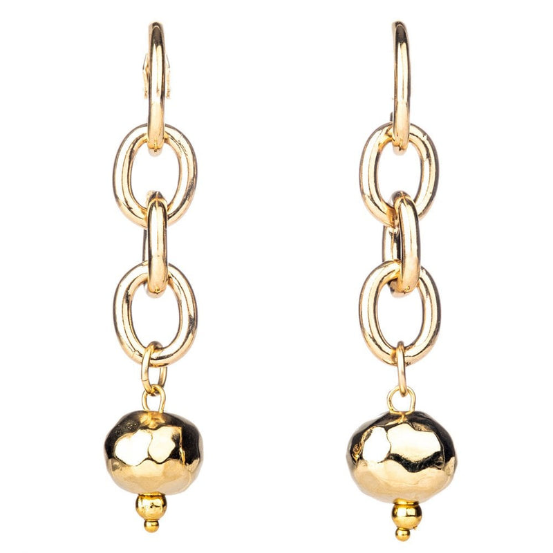 Gold Plated Chunky Chain Link Earring on Hoop - 60152G