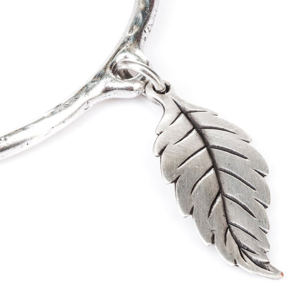 large leaf bangle (silver)