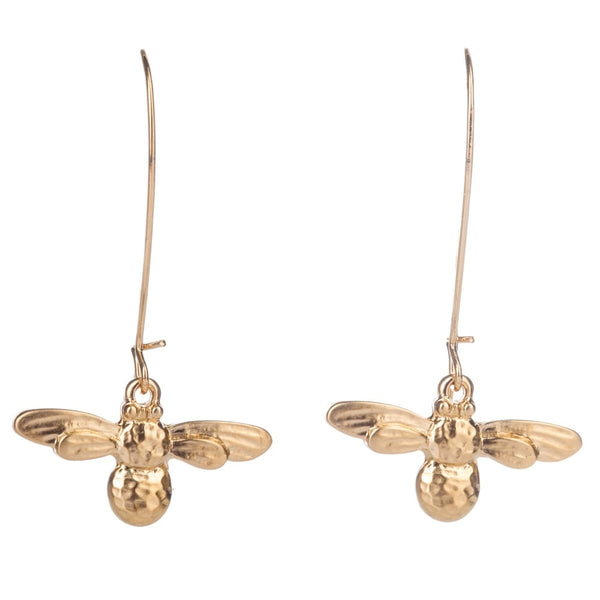 Long Bee Drop Earrings (gold)