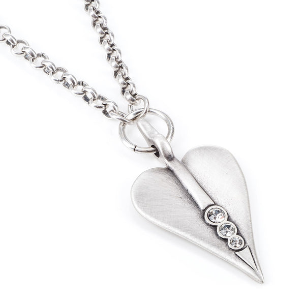 long heart necklace with crystals
