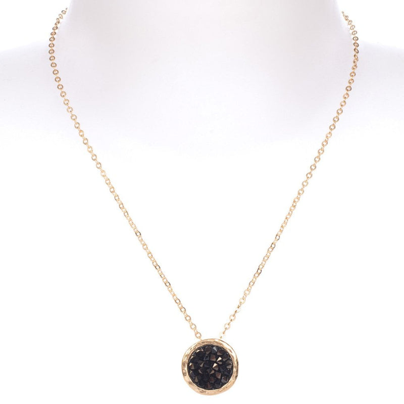 Mini Rock On Pendant Gold Plated Black Crystal - 5062