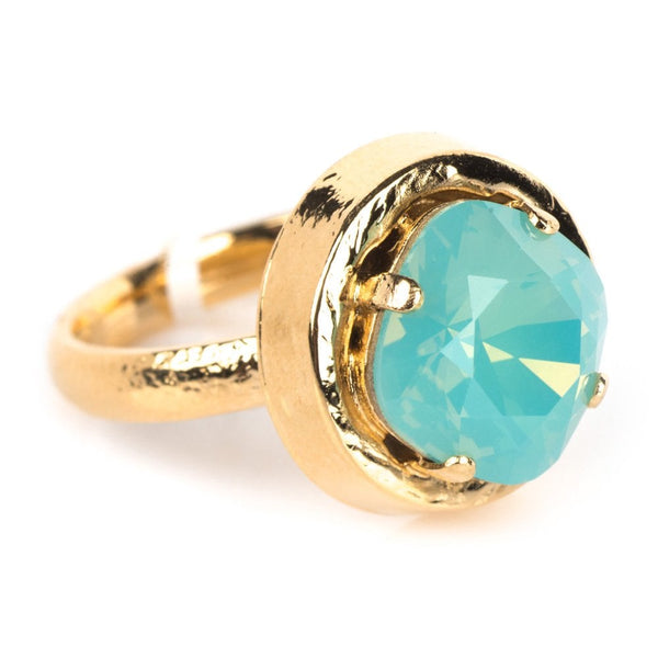 Pacific Opal Crystal Gold Plated Ring - 952