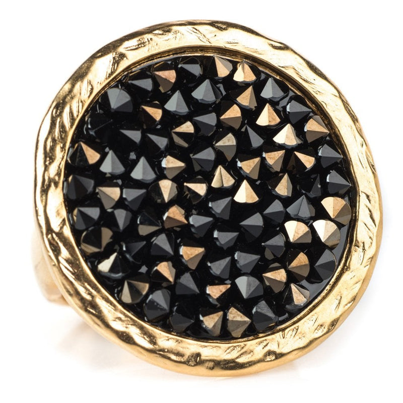 Rock On Ring Gold Plated Black - 1107
