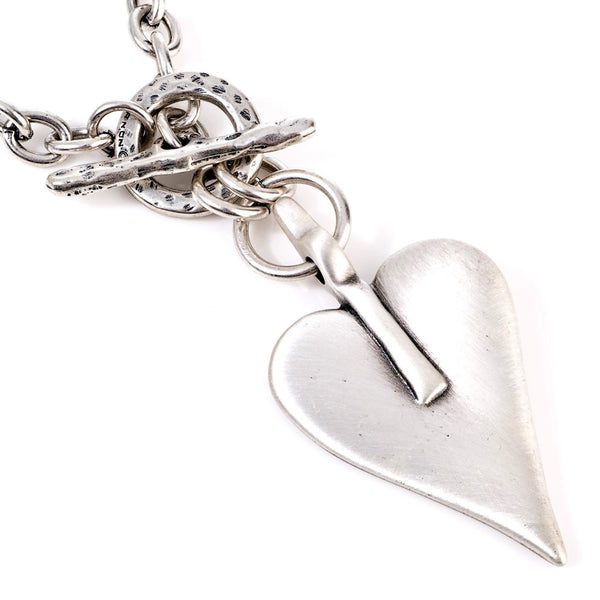 Silver Plated Heart Chunky Chain Necklace - 4471