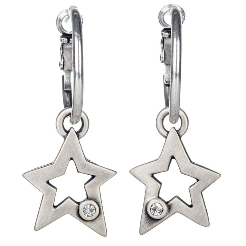 Star with Crystal Silver Plated Hoop Earrings - 60049