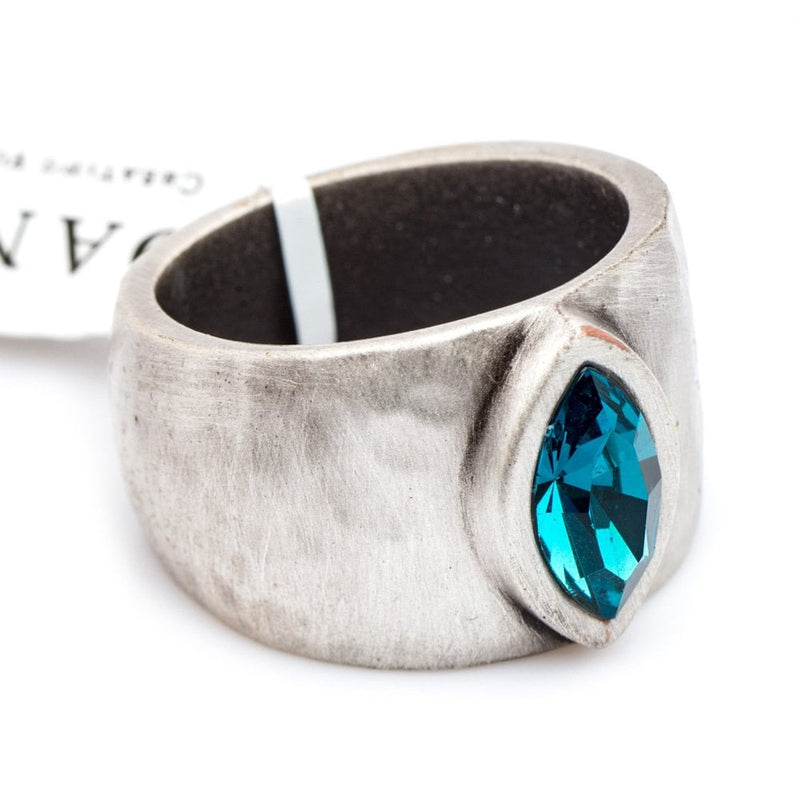 Venice Ring Silver Plated with Blue Crystal - 1167