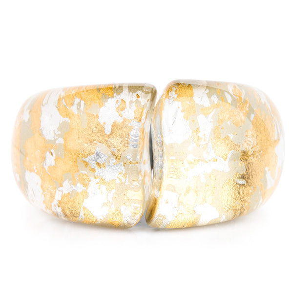 Acrylic Hinged Bangle - Gold & Silver