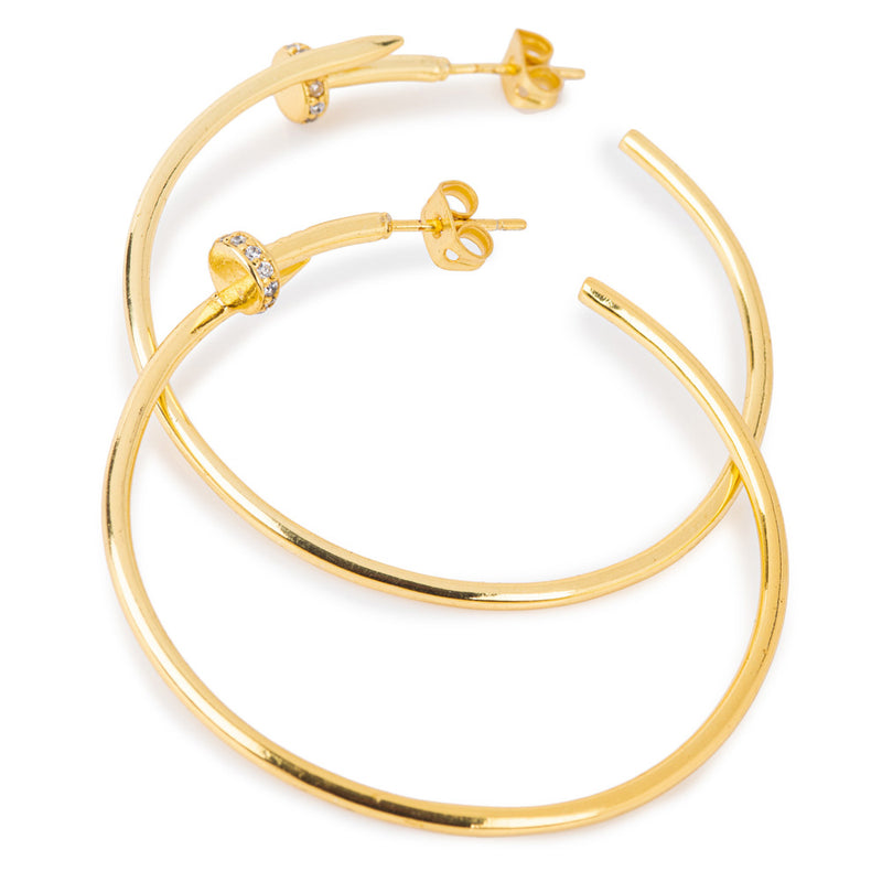 SCREW AND CUBIC ZIRCONIA GOLD HOOP EARRINGS