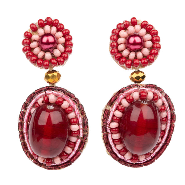 SMALL RED BEAD DROP EARRINGS