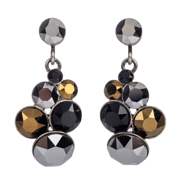 Petit Glamour Meteor Black/Brown Drop Stud Earrings - Antique Silver