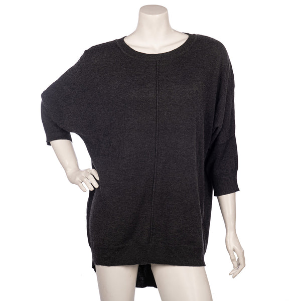 Open Button Jumper - Charcoal