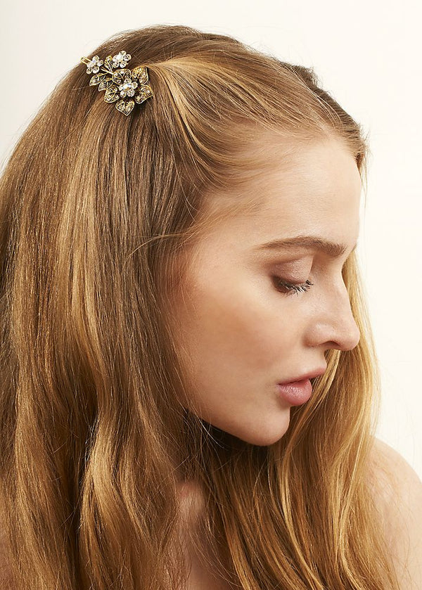 Rose Crystal Hair Clip Gold Tone