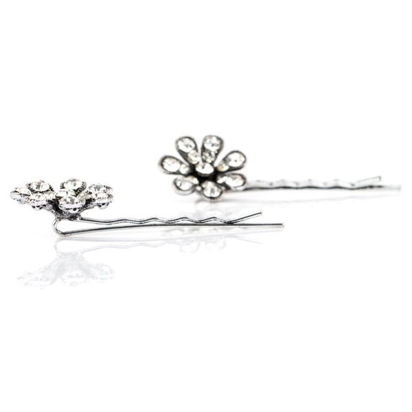 Flower Power Bobby Pins Pair Silver Tone - KK087