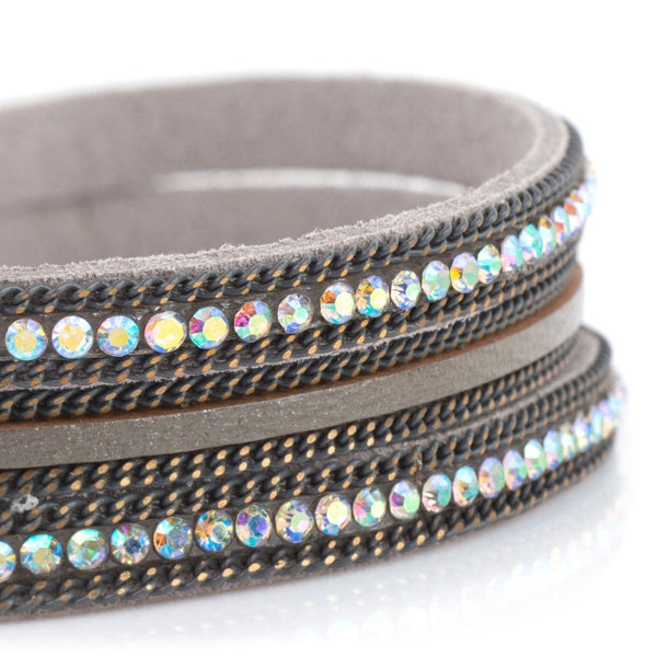 Triple Strand Magnetic Bracelet Grey/AB Mix - AY189