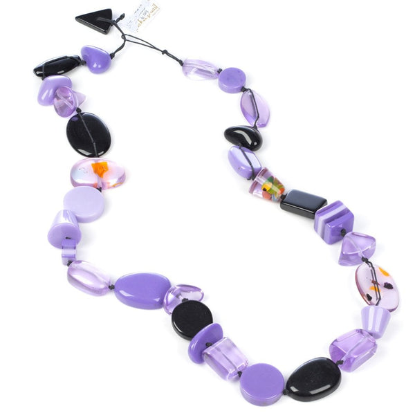 Long Multi Bead Indiana Necklace Purple Mix - N38