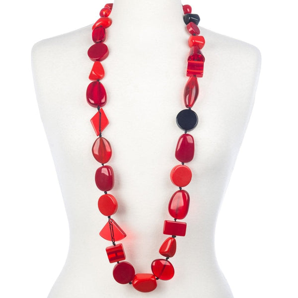 Long Multi Bead Indiana Necklace Red Mix - N38