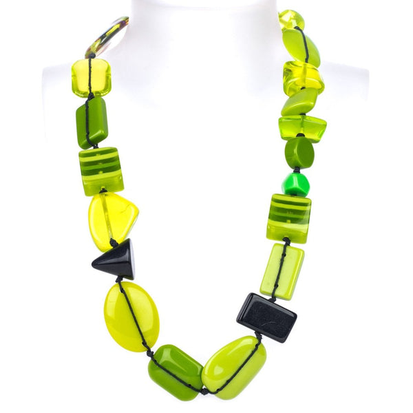 Short Multi Bead Indiana Light Green Mix Necklace - N33
