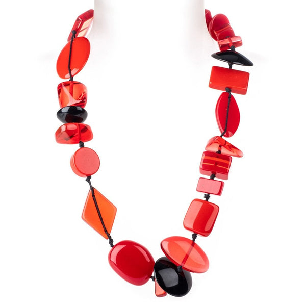 Short multi bead Indiana necklace (red)