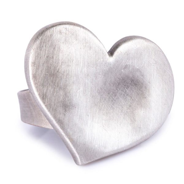 Concave Textured Heart Ring