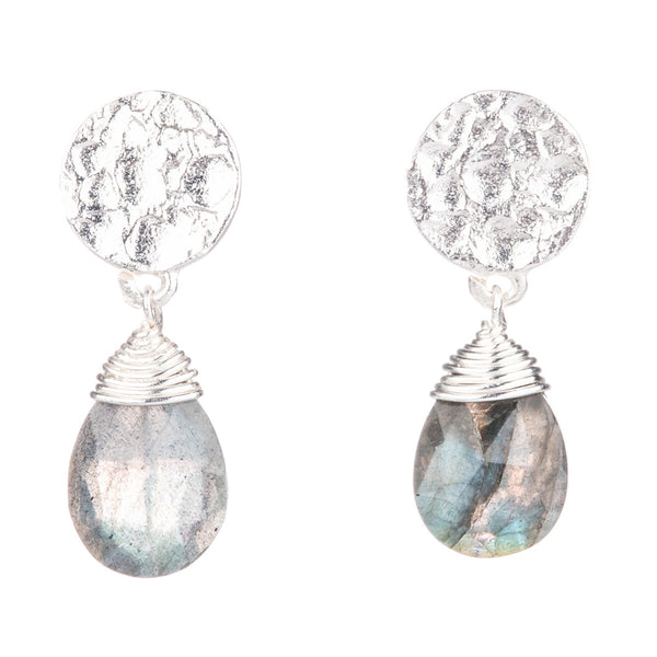 ATHENA KATE GEMSTONE DROP EARRINGS: SILVER LABRADORITE