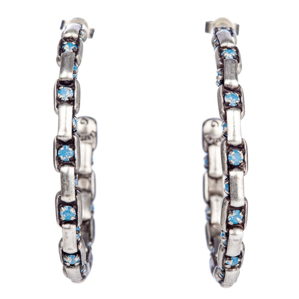 Industrial Hoop Earrings With Blue Crystal Antique Silver Tone