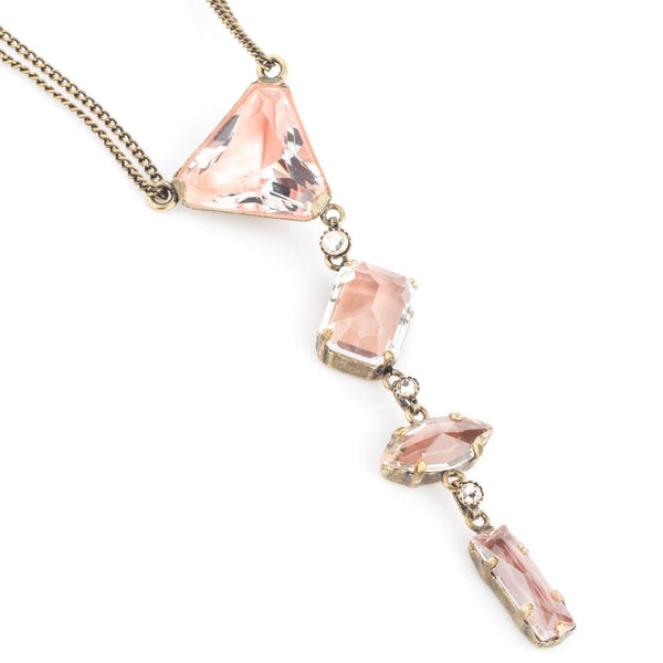 Mix The Rocks Four Blush Crystal Drop Necklace Antique Brass Tone