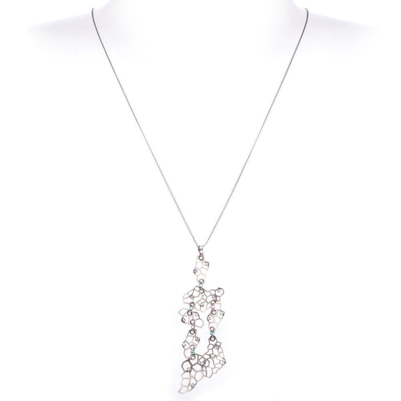 Pastel Crystal Textures Under The Sea Long Pendant Necklace Antique Silver Tone