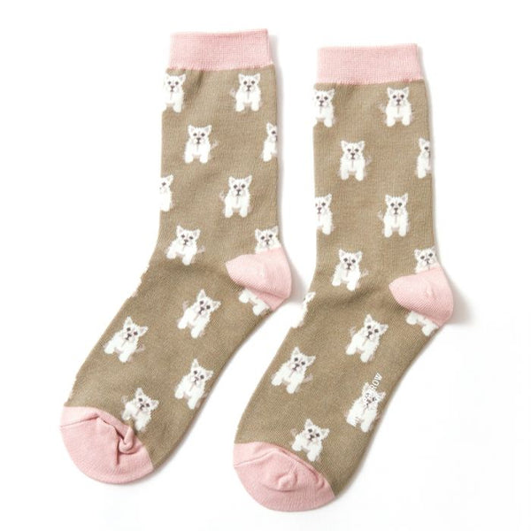 Mini Westie Socks - Olive
