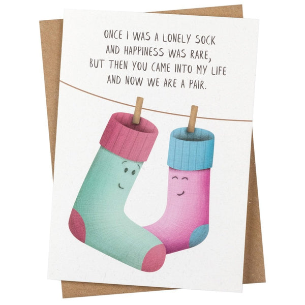 Lonely Sock Greetings Card - PE07