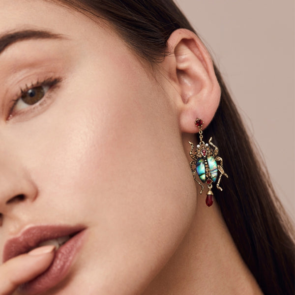 Bejewelled Beetle Earrings