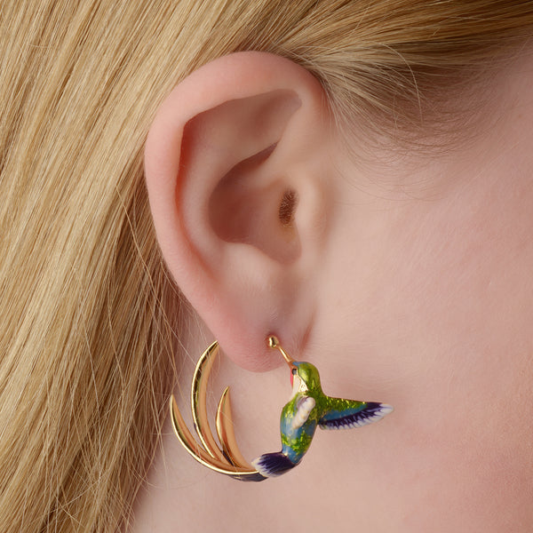 Bird of Paradise Hoop Earrings