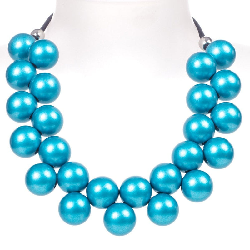 Ballsmania Capri Blue Metallic Necklace