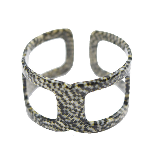 Cut out Cuff Mosaic Bracelet Black & White
